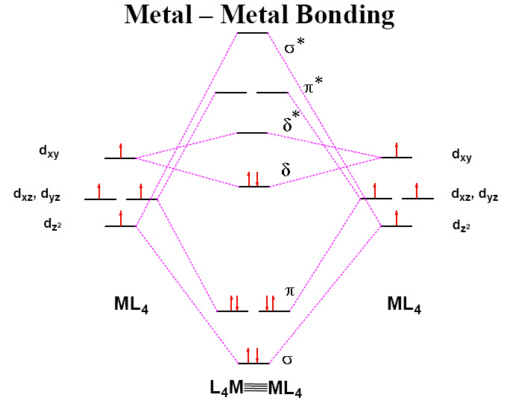 MO diagram for quadruple bond